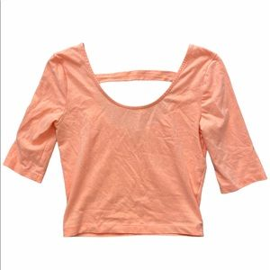 Charlotte Russe Peach Quarter Sleeve Crop Top